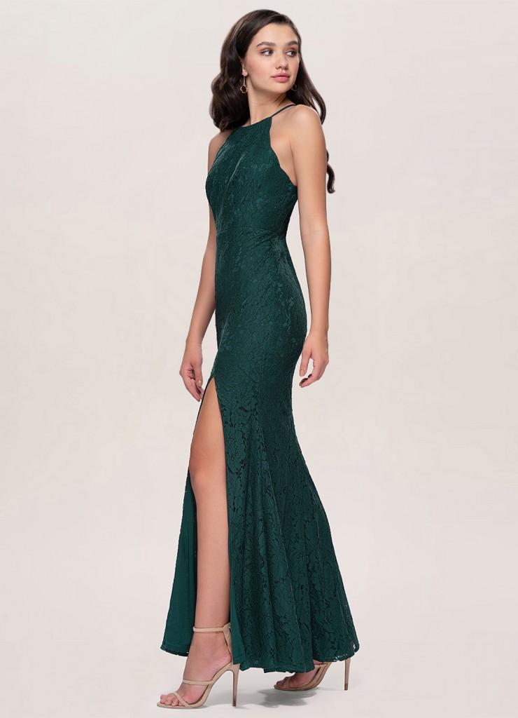 Madmoiselle Dark Green Lace Maxi Dress