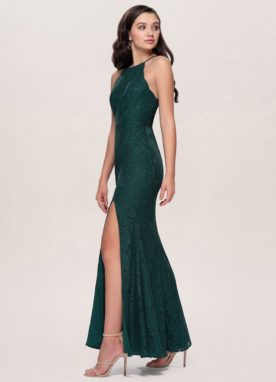 Madmoiselle Dark Green Lace Maxi Dress