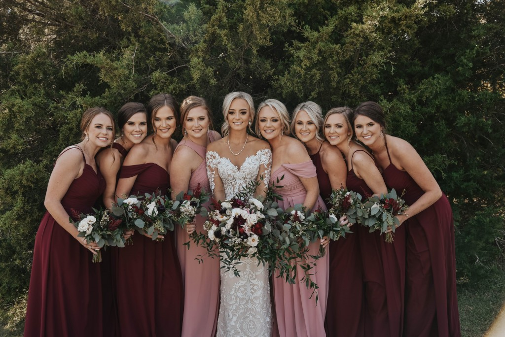 Winter colors, bridesmaid dresses, Azazie, Cabernet dresses, Dusty Rose dresses, Winter Wedding Flowers, Winter colors, wedding bouquets, bridal flowers, wedding decor, seasonal flowers