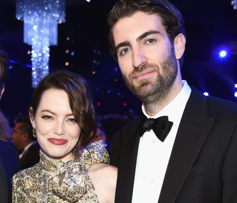 Emma Stone, Dave McCary, celebrity engagements, celebrity weddings, famous couples, celebrity couples, wedding dresses, bridesmaid dresses, Azazie