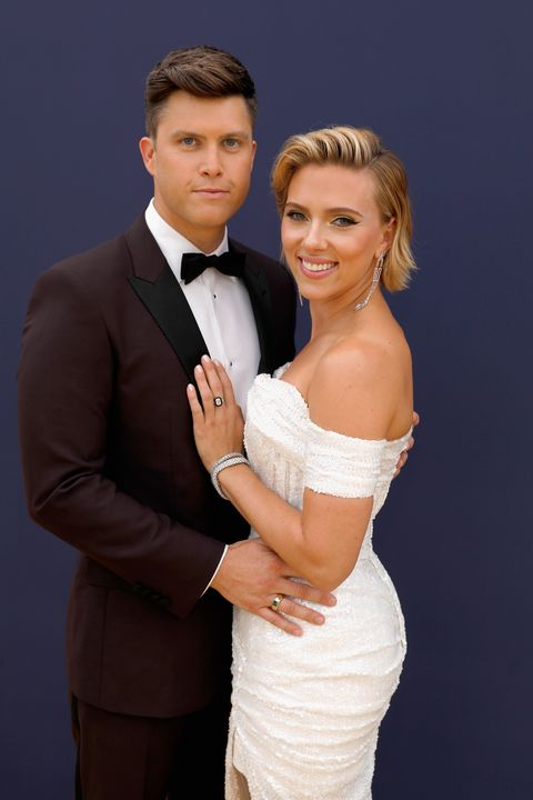 Scarlett Johansson, Colin Jost, celebrity engagements, celebrity weddings, famous couples, celebrity couples, wedding dresses, bridesmaid dresses, Azazie