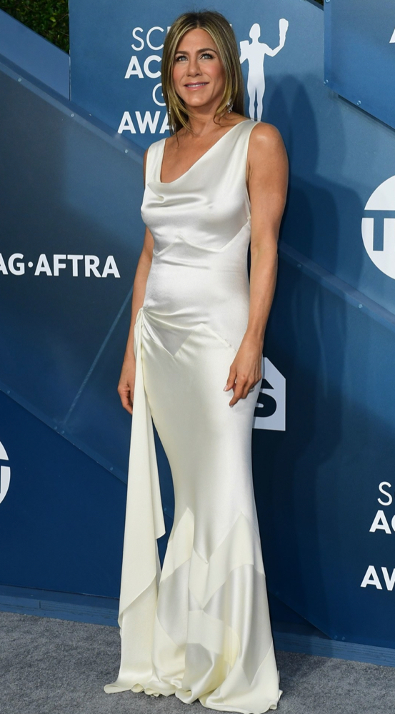Jennifer Aniston, SAG Awards, White dress, Red Carpet, Azazie, celebrity styles