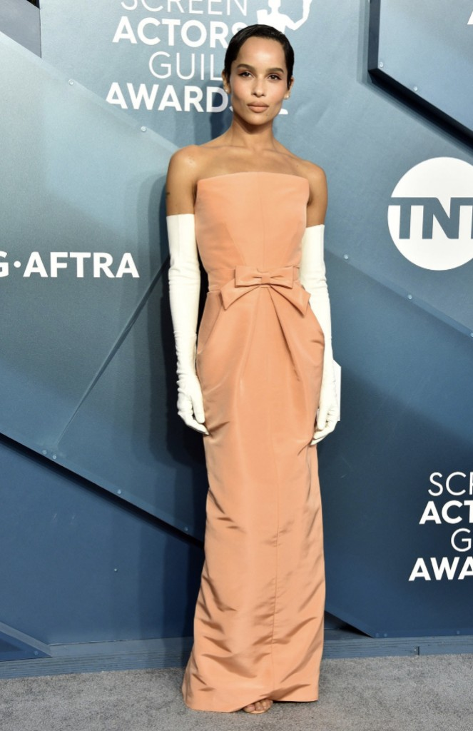 Zoe Kravitz, SAG Awards, orange dress, Red Carpet, Azazie, celebrity styles