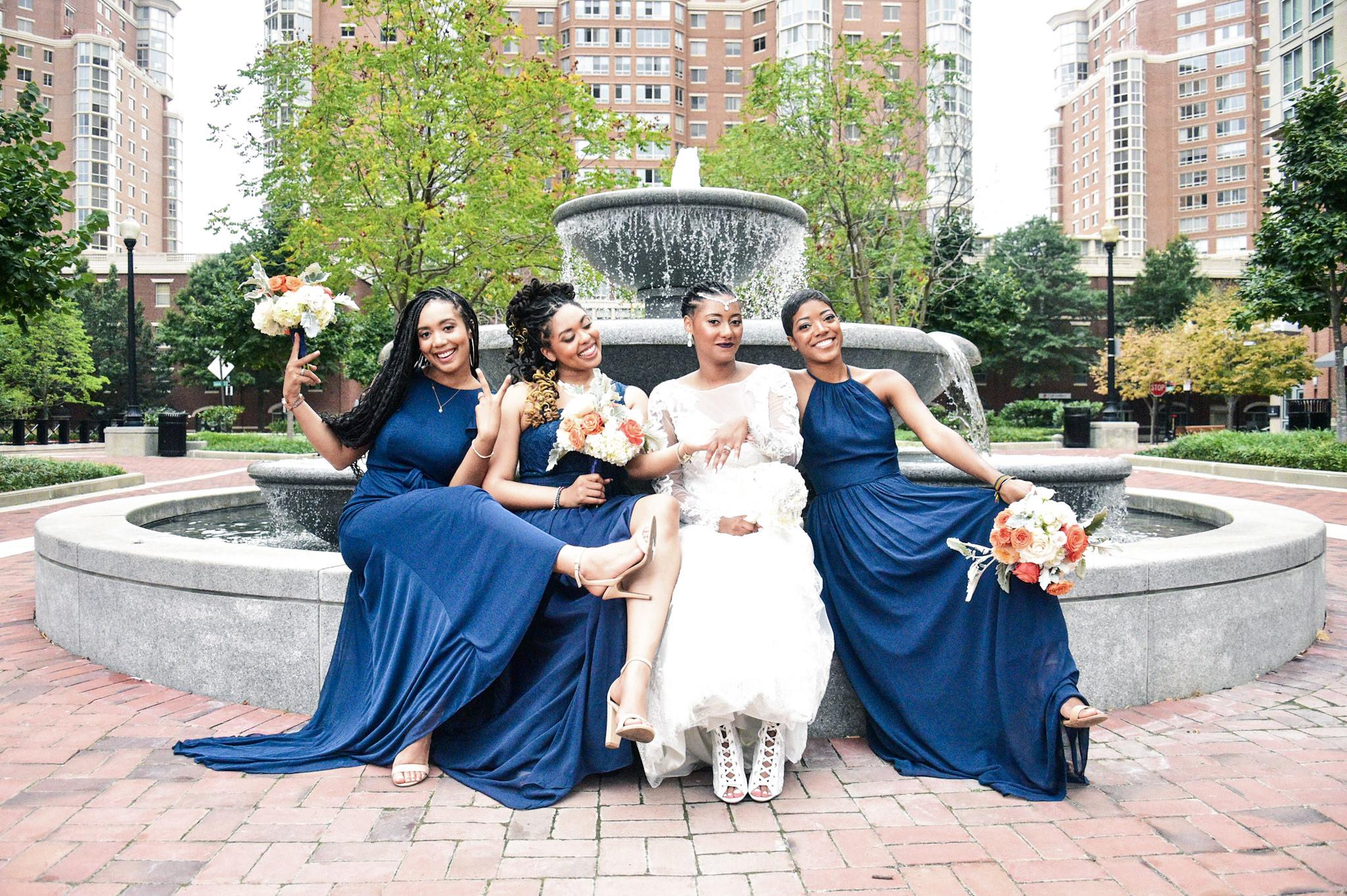 International Women's Day, Azazie, Blushing Pink, sequins, real wedding