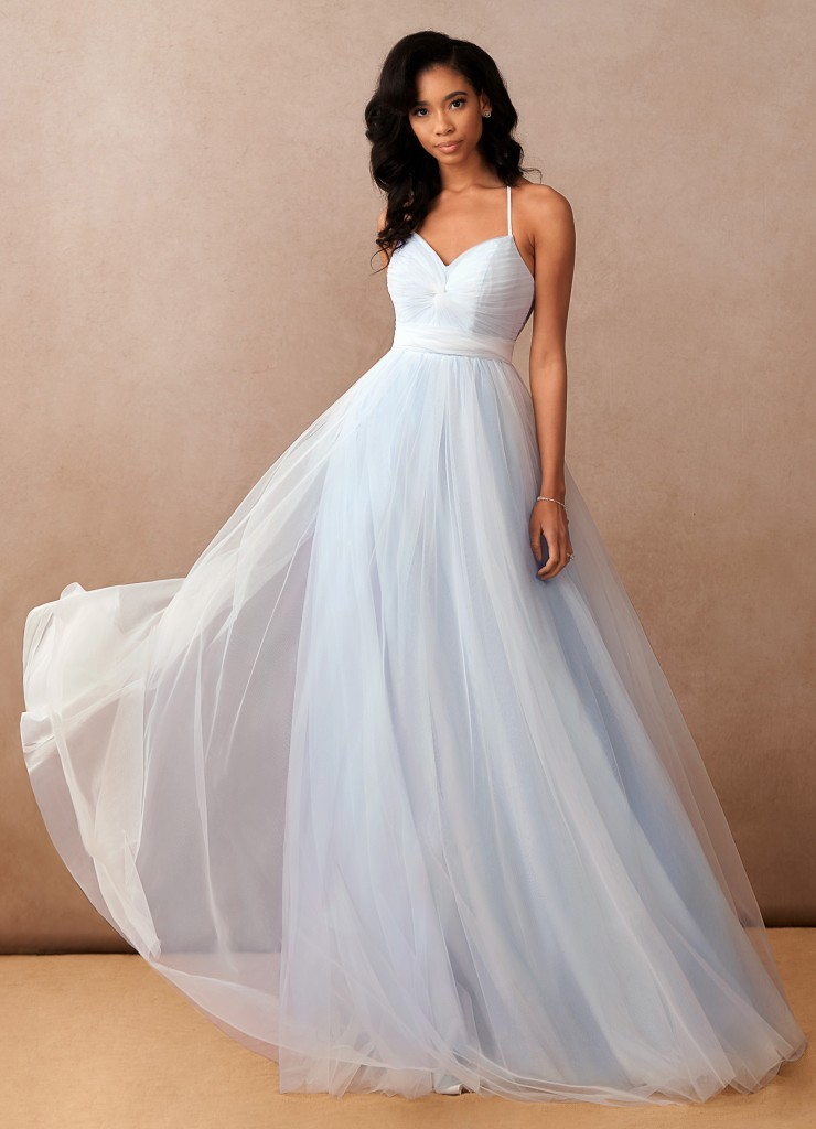 Azazie Aura, Azazie Essence, bridal gown. colored wedding dresses, light blue wedding dress, ballgown wedding dress, sleeveless wedding dress