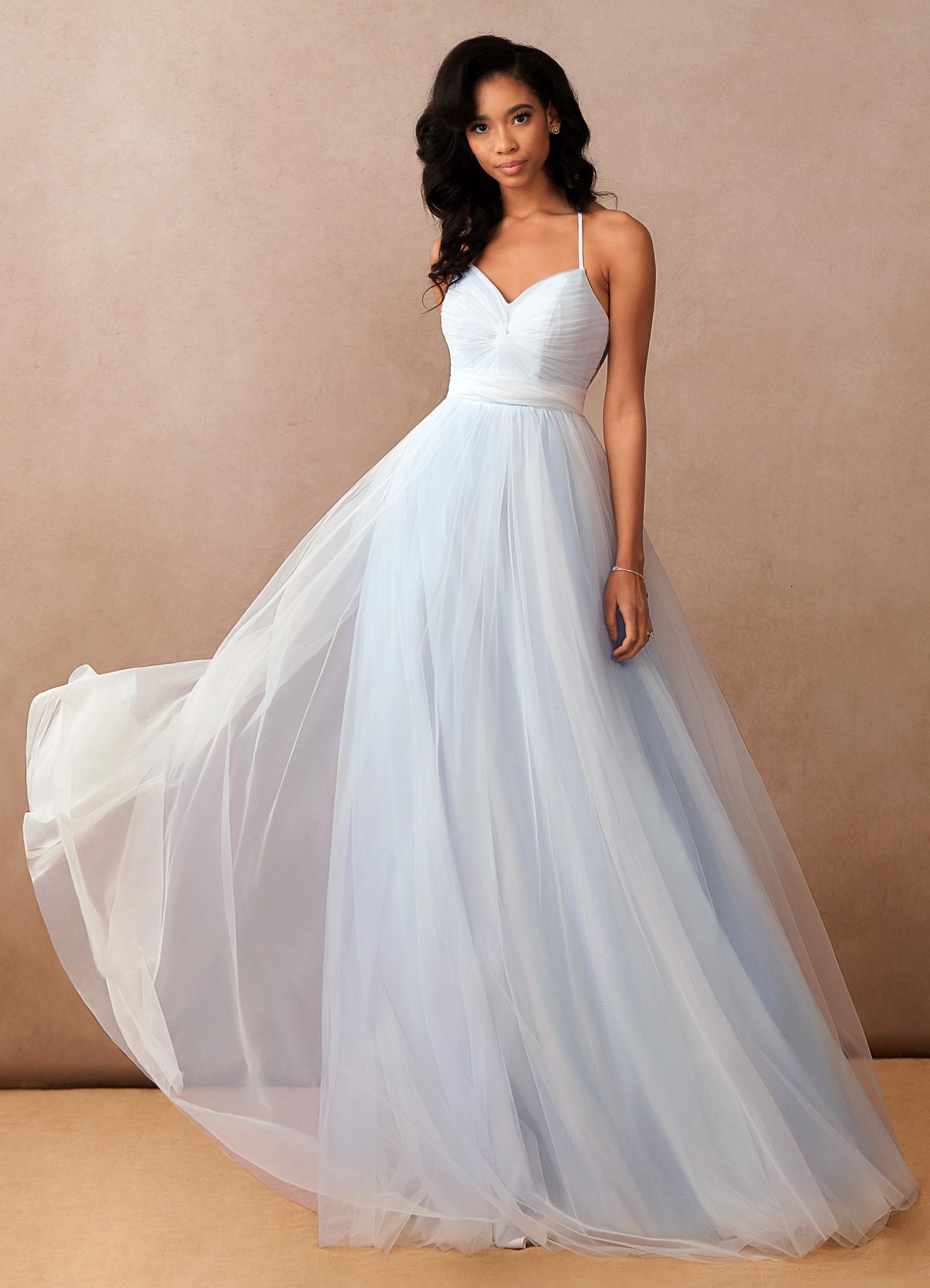 Azazie Aura, Azazie Essence, bridal gown. colored wedding dresses, light blue wedding dress, ballgown wedding dress, sleeveless wedding dress