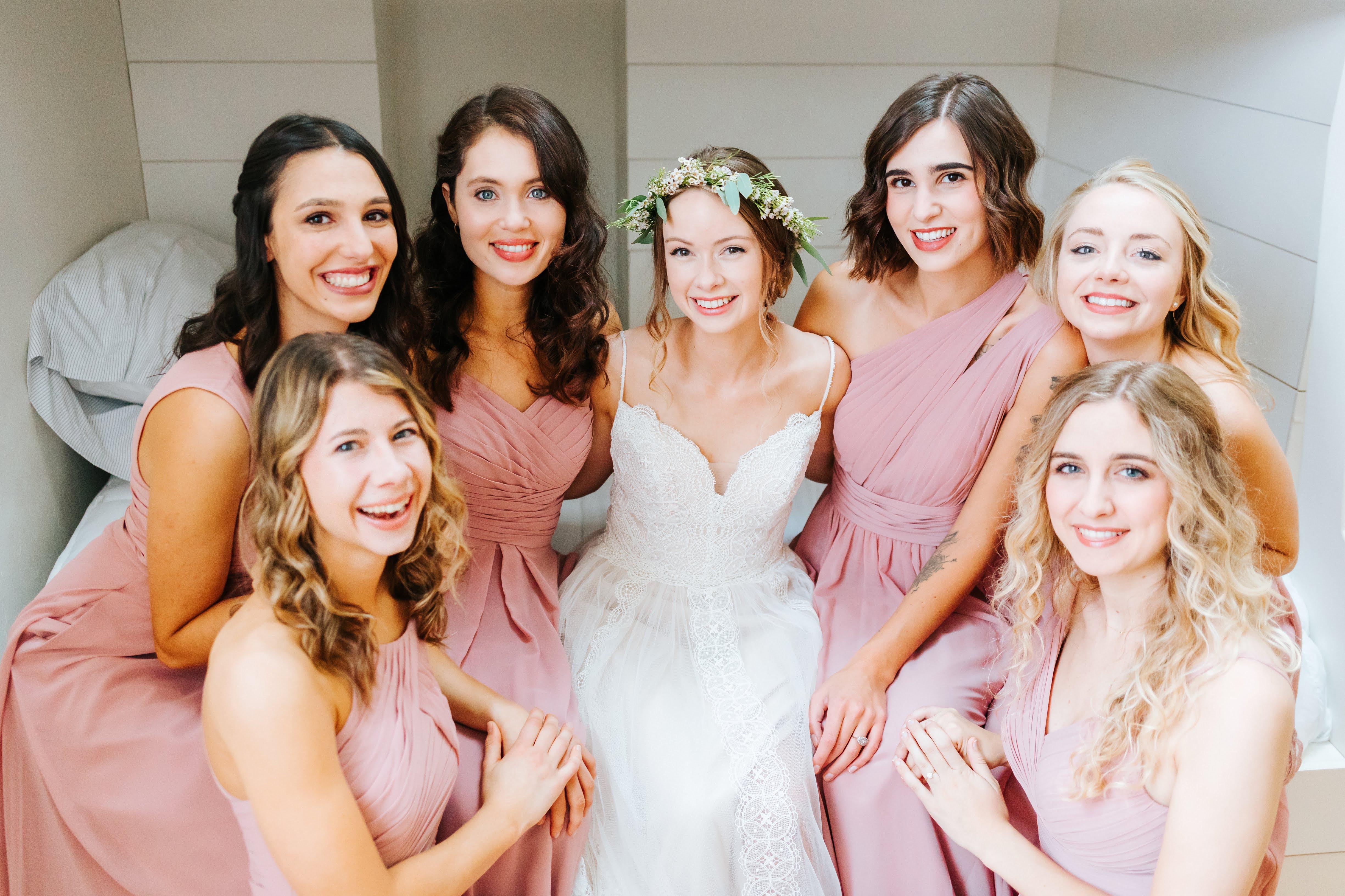 bridesmaid dresses, dusty rose, vintage mauve, wedding, bridal party