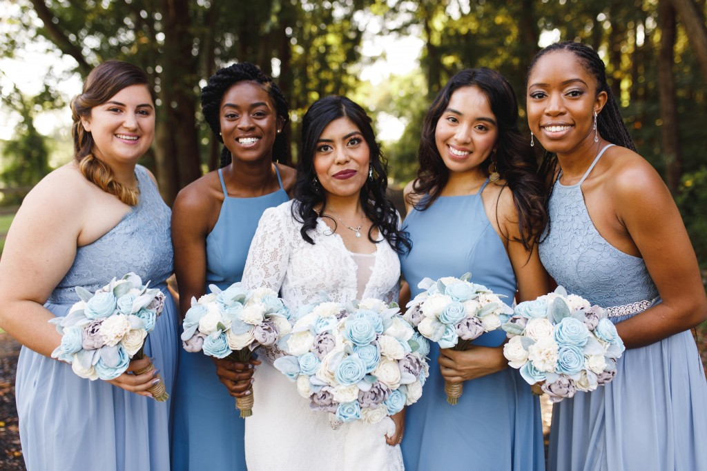 dusty blue, sky blue, bridesmaid dresses, wedding