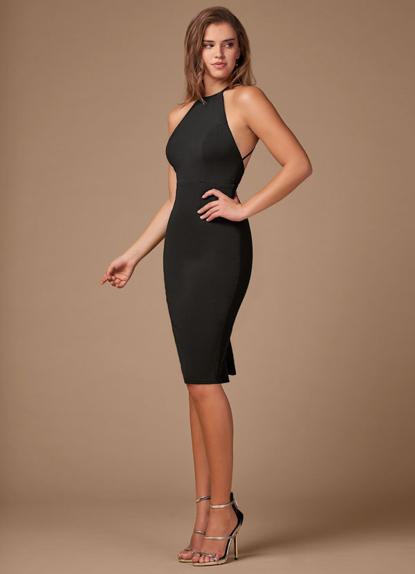 AZAZIE BLUSH MARK COCKTAIL HOUR BLACK MIDI DRESS (1)