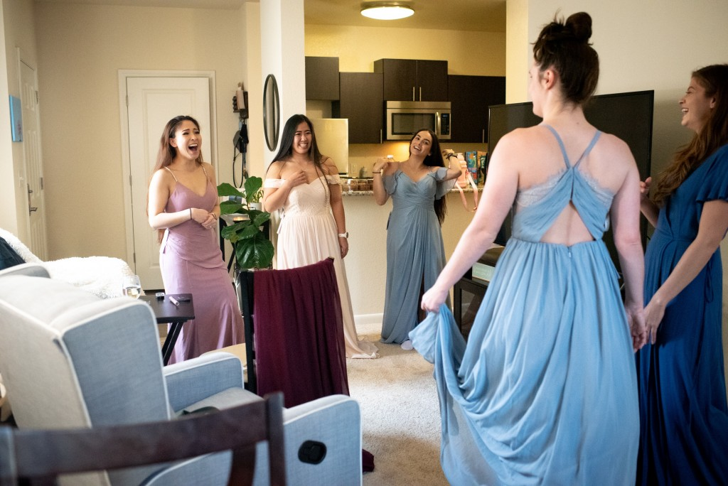 at home try on azazie bridal gown wedding dress bridesmaids